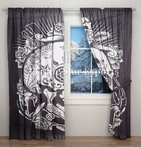 Indian Dead Skull & Roses Curtains Black And White Hippie Window Drapes Panels