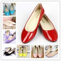 Women's Summer Ballet Flat Casual Patent Leather Pumps Shoes Candy Colors New