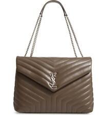 Saint Laurent Monogram Loulou Faggio Large Matelassé Brown Leather Shoulder Bag