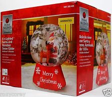 Home Accents 6 ft Animated Lighted Santa and Reindeer Snow Globe Inflatable