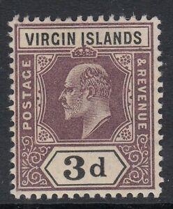 Virgin Islands KEVII 1904 3d dull purple & black SG58 - Unmounted mint