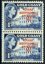 GHANA 1d Independence Overprint Issue of 1957 Coil Pair MNH Scott's 6A