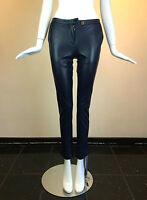 PIERRE BALMAIN Women's Four Pocket Navy Leather Pants - NWT - GORGEOUS!
