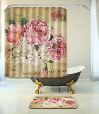 "Flowers Bathroom Mat Waterproof Polyester Fabric Shower Curtain 12 Hooks 72"" 257"