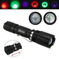 VastFire Zoomable Green Red UV 3X XPE LED Flashlight Torch Lamp Hunting Light