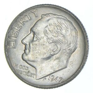 Unc BU MS 1947 - US Roosevelt 90% Silver Dime Coin Collection Set Break *863