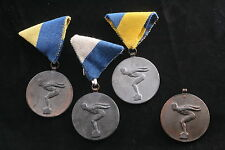 Hungary Hungarian Lot of Swimming Diving Sport Medals 1960s Silver Gold Bronze