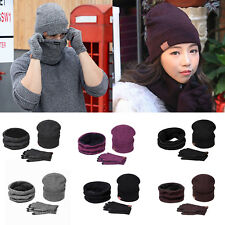 Women Mens Knitted Beanies Hat + Scarf and Gloves Set Winter Warm Ski Cap Unisex