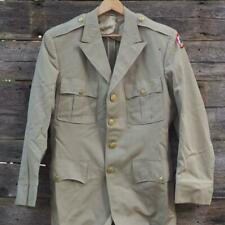 Vintage US Army Tan Dress Jacket Coat w/ Patches Korean War Era