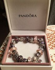 "Full Authentic Pandora Charm Bracelet 8"" with 21 Sterling Silver 925 ALE Charms"