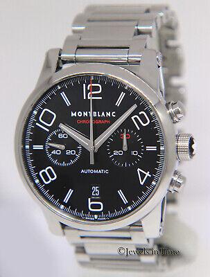 Montblanc Timewalker Chronograph Steel Black Dial Mens 43mm Watch Box/Book 7069