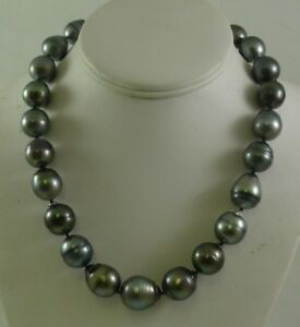 """Tahitian Black Baroque 14.1 - 17.0 mm  Pearl Necklace 14k White Gold Clasp 18.5"""""""