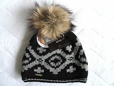 STÖHR Germany CHUNKY Virgin Wool Black Bobble Beanie Toque Hat MADE IN GERMANY