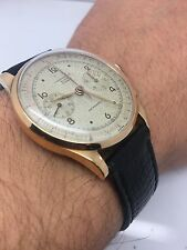 Vintage Chronographe Suisse Antimagnetic 17 Jewels 18 K Solid Rose Gold Watch