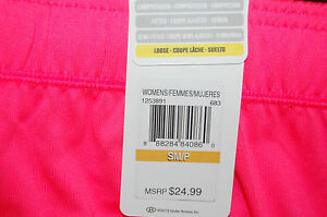 under armour womens tech loose fit training workout shorts pink drawcord small