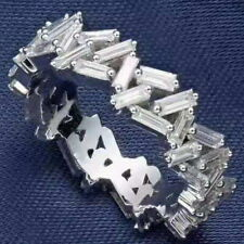 1Ct 100% Natural Diamond 14K White Gold Baguette Cluster Ring RU17