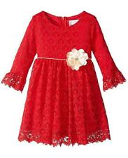 Rare Editions Girls sz 2T Red Gold Flower Sparkle Lace Dress Christmas Holiday