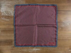 ERMENGILDO ZEGNA red circle motif silk pocket square authentic