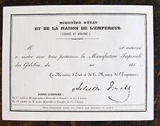 Manufacture Imperiale des Gobelins, (1850), ministere d'etat et de la maison de