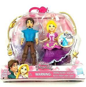 "Disney Princess Figures Rapunzel & Eugene 4"" Dolls Royal Clips Set Hasbro Toys"