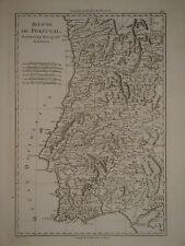 c1770 Genuine Antique map Portugal, Estremadura, mountains, uncolored. Bonne