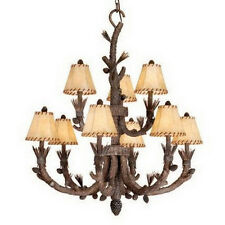 Rustic 9 Light Pine Tree Chandelier With Shades