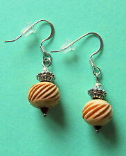 New BRIGHTON China Tale FLOWER DRUM natural horn charms on custom .925 earrings!