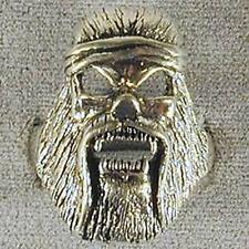 DELUXE SASQUATCH HEAD BAND SKULL SILVER BIKER RING BR133 mens RINGS jewelry NEW