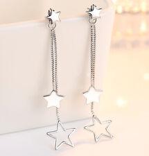 Star Drop Long Tassel Stud Earrings 925 Sterling Silver Chain Womens Jewellery