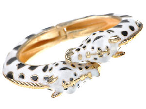 Golden Metal Alloy White Black Enamel Twin Giraffe Cuff Bangle Bracelet Jewelry
