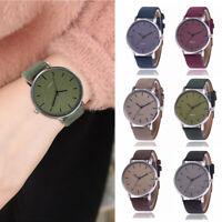 Fashion Womens Men Watches Luxury Faux Leather Band Analog Quartz Wrist Watch