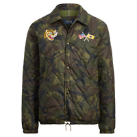 Polo Ralph Lauren Mens Souvenir Tiger Patch Camo Embroidered Quilted Jacket NWT