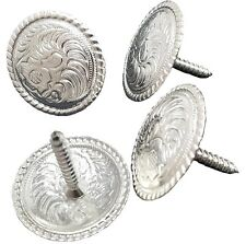"1"" 4 PK WESTERN SADDLE BRIGHT SILVER ENGRAVED CONCHO Screw Back Hill Leather"