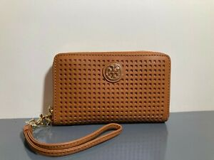 NEW Tory Burch Brown Leather Gold Logo Robinson Wrislet Smartphone Wallet