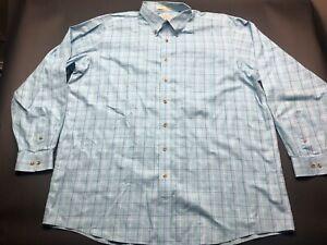 LL Bean Mens Blue Plaid Front Pocket Button Front Shirt Size 2XL Tall