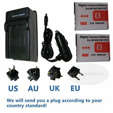 TWO Battery +USB Charger for SONY NP-BG1 NP-FG1 CyberShot DSC-T20 T100 H10 HX5V