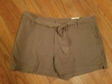 New~ A.N.A. Women's size 14 / 32W Green Stone Linen Shorts w/ belt