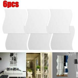 6PCS Self-Adhesive Wall Stickers Glass Mirror Tiles Wavy Edged Room Art Decal