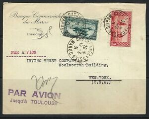 B&D: 1931 French Morocco Scott 113 & C3 on cover Casablanca-N.Y. via Toulouse