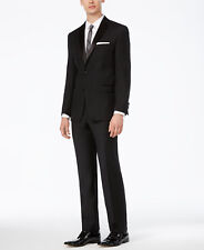 $994 CALVIN KLEIN Mens Slim Fit Wool Tuxedo Black 2 PIECE SUIT JACKET PANTS 42R
