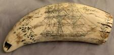 "Replica Whale Tooth Scrimshaw ""Ship Mercator"" w/ Nice Patina!"