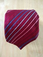 Isaia Napoli Blue Red Burgundy Striped Silk Seven-Fold Tie - Italy - $230.00
