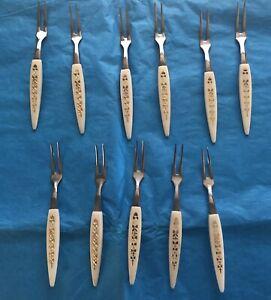 Vintage Hors D'oeuvre Forks ~Mid Century Stainless Steel~Bakelite- Japan