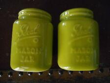 Ideal Mason Jar Ceramic Salt & Pepper Shakers Set ~ Lime Chartreuse Green