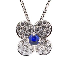 Rare Van Cleef & Arpels TREFLE 28 Diamond Sapphire Necklace in 18K White Gold