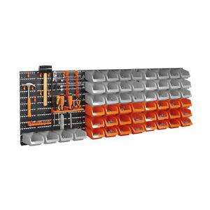 Tools Screws Storage Bins 65pc Wall Mount DIY Shelving Set Organiser Garage