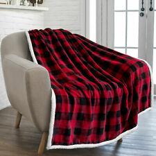 Plaid Buffalo Checker Christmas Throw Blanket Soft Sherpa Fleece for Sofa Couch