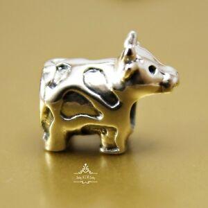 Genuine SOLID 925 Sterling Silver charm bead little farm cow fits bracelets AUM
