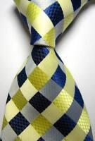 New Classic Checks Blue Beige JACQUARD WOVEN 100% Silk Men's Tie Necktie