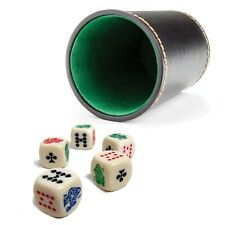 """New 4"""" Tall Synthetic Leather Dice Cup and 5 Poker Dice w/ Rounded Corners"""